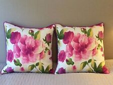 Pair of Watercolor Floral Print Custom Made Throw Pillows, New