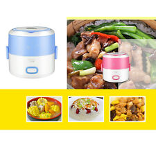 Electric 1.3L Portable Lunch Box Mini Rice Cooker Steamer 2Layer Stainless Steel