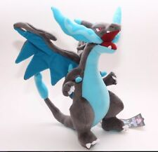 Pokemon Center Dragon Mega Charizard X Plush Doll Toy Blue 12 inch Xmas Gift