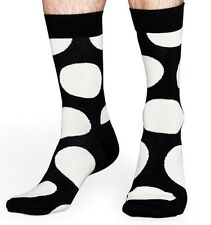 NWT HAPPY SOCKS ONE PAIR OF BLACK w HUGE WHITE POLKA DOT COMBED COTTON SOCKS