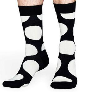 NEW HAPPY SOCKS ONE PAIR OF BLACK w HUGE WHITE POLKA DOT COMBED COTTON SOCKS