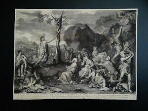 ANCIENNE GRAVURE XVII AUDRAN CHARLES LE BRUN LE SERPENT D'AIRAIN