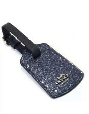 Coach Star Glitter Luggage Tag Blue Travel Leather Navy Blue New W/O Tags