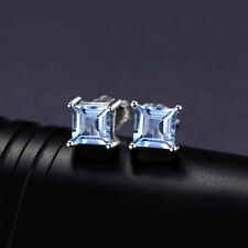 BEAUTIFUL SQUARE CUT NATURAL SKY BLUE TOPAZ STERLING SILVER STUDD EARRINGS 23126