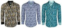 Suslo Couture Men's Slim-Fit Designer Paisley Bold Long Sleeve Button Down Shirt