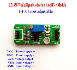 LM358 Weak Signal Collection DC Amplifier Module 100 times Adjustable DC 3V-30V