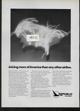 REPUBLIC AIRLINES JOINING MORE OF AMERICA NEON ROUTE MAP HERMAN MALLARD 1981 AD