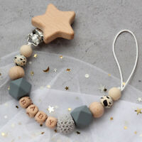 Animal Beech Wood Clip Silicone Beads Personalized Baby Teething Pacifier Holder