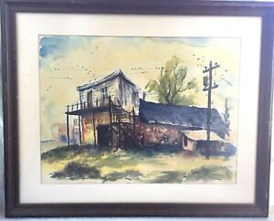 Vtg Framed Original Watercolor Painting - Livery Stable, Signed Chambers 1965
