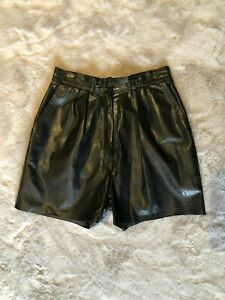 Vintage, Genuine Leather Shorts, Black, Lined, Women's Small