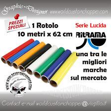 1 ROTOLO VINILE PVC ADESIVO RITRAMA PLOTTER INTAGLIO h 62 CM X 10 METRI LUCIDO
