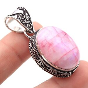 """T1472 Pink Moonstone Silver Plated Vintage Style Pendant Size 1.8"""" Jewellery"""