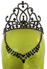 Black Rhinestone Crystals Evil Queen Fairy Tiara V Drop Medieval Costume Accent