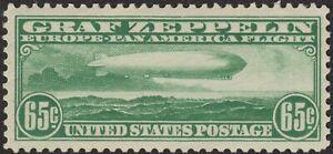 1930 65¢ GRAF ZEPPELIN #C13; LIGHTLY HINGED, LIGHT DIAGONAL BEND; NATURAL INCLUS