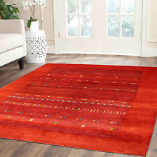 8'x8' Exclusive Red Gabbeh 100% Woollen Hand Knotted Rugs & Carpet