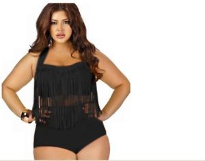3XL Women Sexy Plus Size Swimwear Bikini High Waist Bathing Suit Swimsuit Ruffle