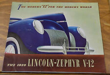 1939 Vehicle Brochure///LINCOLN-ZEPHYR V-12 AUTOMOBILE///b