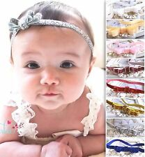 Baby Girl Headband Hairband Glitter Red Gold Silver Bow Party Dress