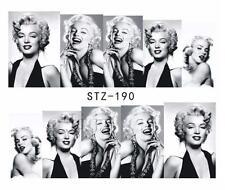 Marilyn Monroe Black Nail Art Sticker Decal Decoration Manicure Water Transfer