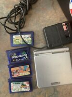 Nintendo AGS-001 GBA SP Gameboy Advance SP Silver 4 Games Lot See Pics