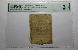 1776 One Shilling Connecticut CT Colonial Currency Bank Note Bill 1s PMG Graded