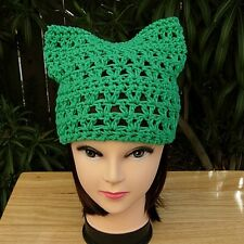 d28db3f30dd Solid Green Earth Day March Women s Summer Lightweight Pussy Cat Hat 100%  Cotton
