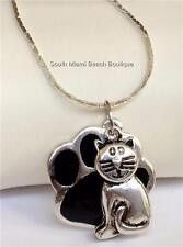 Silver Plated Paw Print Cat Necklace Kitten Vet Tech Gift Rescue Lady USA Seller