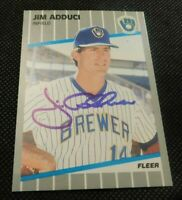 FLEER MILWAUKEE BREWERS JIM ADDUCI AUTOGRAPH BASEBALL CARD!  E488TSC2