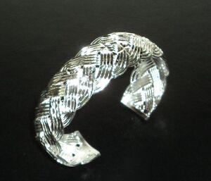 Manchette Bracelet Argent Sterling .925 Avec Cordon Pochette Neuf #002