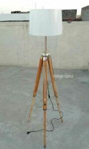 Vintage Classic Teak Wood Tripod Floor Lamp Nautical Floor Home Decor lamp Gift