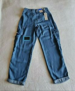 NEW M&S DENIM CARGO MADE FROM GORGEOUSLY SOFT PURE TENCIL SIZE 10 LONG