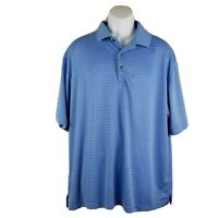 Ben Hogan Mens Performance Golf Polo Shirt Size 2XL Blue Striped Short Sleeve