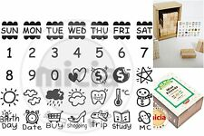 Set of 35 Pcs Diary Calendar days week weather Wood Rubber Stamps