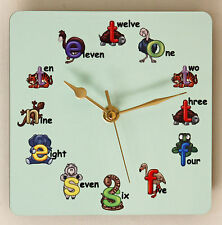 Square Wall Clock for Children with Animal Letters Size 19cm by 19cm