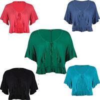 Women Frill Top Ladies Cropped Cardigan Short Sleeve Bolero Shrug Plus Size New