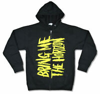 Bring Me The Horizon Yellow Logo Black Zip Up Sweatshirt Hoodie New Official