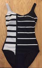 M & S - Black & White Monochrome Swimming Costume - Size 14 - BNWOT