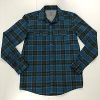 Swiss Tech Men's Sz Small Blue, Teal, Black Plaid Long Sleeve Button Down Shirt