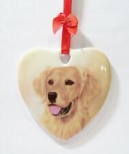 Golden Retriever I Love My Heart Shaped Porcelain Ceramic Christmas Ornament