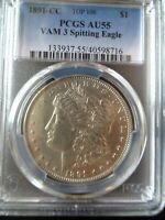 1891-CC Morgan Silver Dollar, TOP 100 VAM 3 Spitting Eagle!!!!!!!!!! PCGS AU 55.