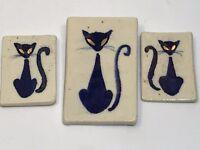 Mid Century Modern Siamese Cat Tiles Handmade Retro Kitty Danish? Blue and White