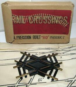 Rail Crossing 45 Degree for HO Train Layouts, Brass Rail and Plastic, Japan Vtg