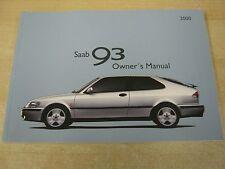 SAAB 93 9-3 SALOON CAB ESTATE   HANDBOOK OWNERS MANUAL  1997-2002
