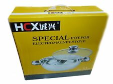 HCX 32 cm Stainless Steel Shabu Shabu Dual Sided Cooking Soup Hot Pot W/ Lid