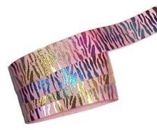 "1 yard Metallic rainbow light pink zebra print 7/8"" grosgrain ribbon DIY bows"