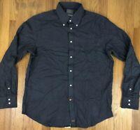 Thomas Dean Mens Dress Shirt Soft Size Large Dark Gray Black L/S Button Down