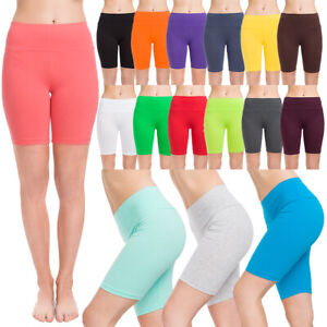 Womens Cotton Rich 1/2 Leggings High Waisted Solid Cycling Pants Sports Gym LKW