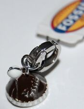 NWT Fossil Silver Metal, Black & White Enamel Winter Hat Charm