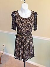 A. Byer Black Lace Overlay Short Sleeved Nylon Blend Belted Dress - Small