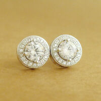Solid 925 Sterling Silver 5mm CZ Halo Round Stud Jewellery Earrings 10mm